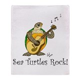Sea Turtles Rock Throw Blanket