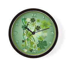 Designer Shamrocks Wall Clock