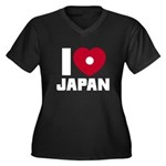 I Love Japan Women's Plus Size V-Neck Dark T-Shirt