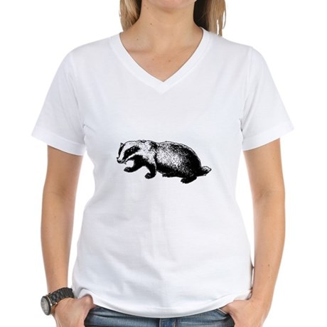 Honey Badger Doesn't Care Womens V-Neck T-Shirt