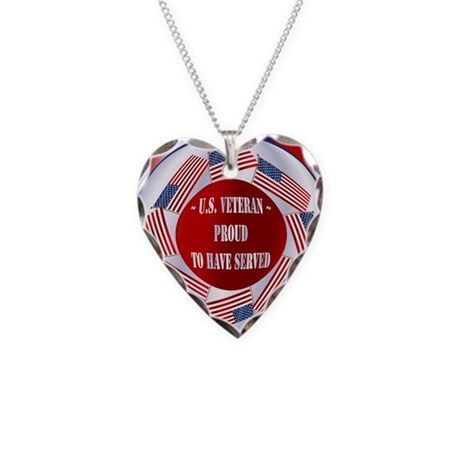 Veterans Necklace Heart Charm