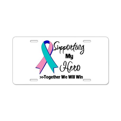 Thyroid Cancer Support Hero Aluminum License Plate