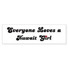 Loves Kuwait Girl Bumper Bumper Sticker