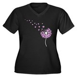 Blowing Dandelion Pink Women's Plus Size V-Neck Da