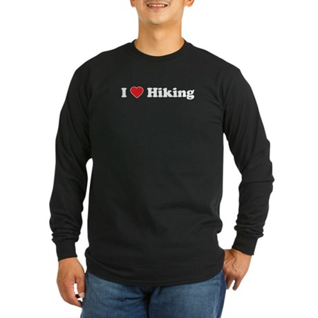I Love Hiking Long Sleeve Dark T-Shirt