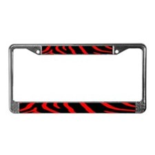 Red & Black Zebra Print License Plate Frame