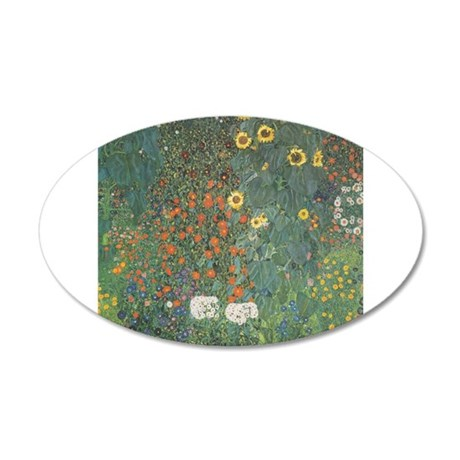 Country Garden with Sunflower 22x14 Oval Wall Peel