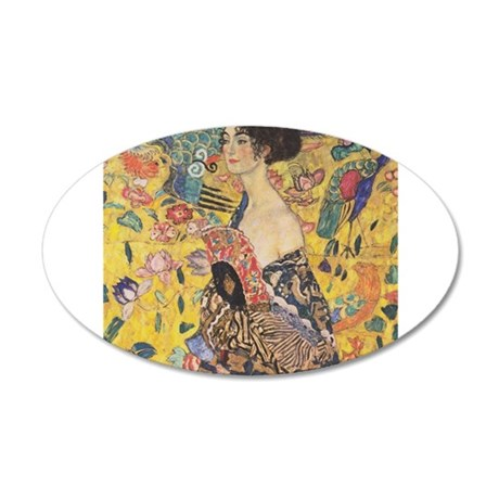 Woman with Fan 22x14 Oval Wall Peel