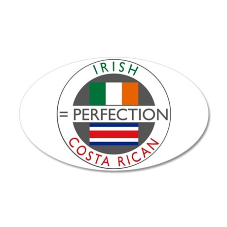 Irish Costa Rican flags 38.5 x 24.5 Oval Wall Peel