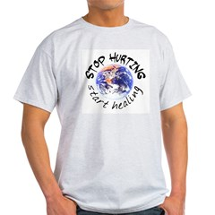 Stop Hurting Earth Ash Grey T-Shirt