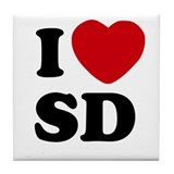 I Heart SD San Diego Tile Coaster