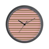 Pink & Brown Stripes Wall Clock