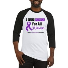 Purple Ribbon All Women Baseball Jersey