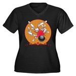Bowling Women's Plus Size V-Neck Dark T-Shirt