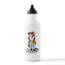 Red White Greyhound Water Bottle
