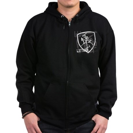 Distressed Vytis and Lietuva Zip Hoodie (dark)