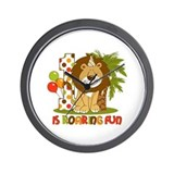 Cute Lion 1st Birthday Wall Clock