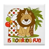 Cute Lion 2nd Birthday Tile Coaster