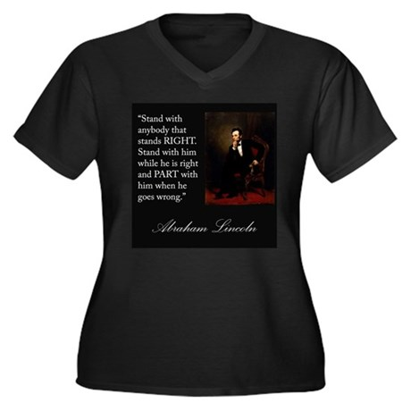 Abraham Lincoln Quote Women's Plus Size V-Neck Dar