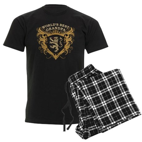World's Best Grandpa Crest Men's Dark Pajamas