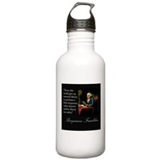 Ben Franklin Quote Portrait Water Bottle