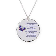 Cute Autism love Necklace Circle Charm