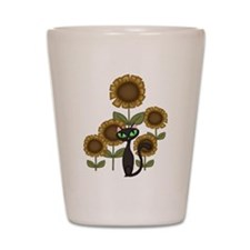Sunflower Black Cat Shot Glass