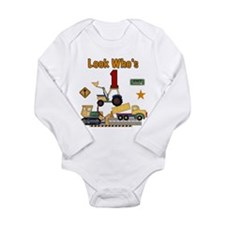 Construction 1st Birthday Long Sleeve Infant Bodys