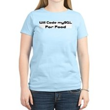 Will Code mySQL For Food Women's Pink T-Shirt