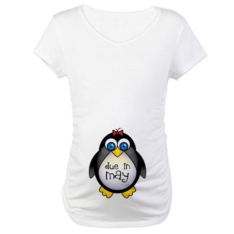 Penguin May Baby Announcement Maternity T-Shirt