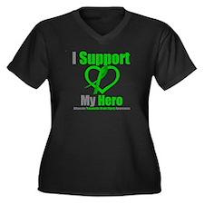TBI I Support My Hero Women's Plus Size V-Neck Dar