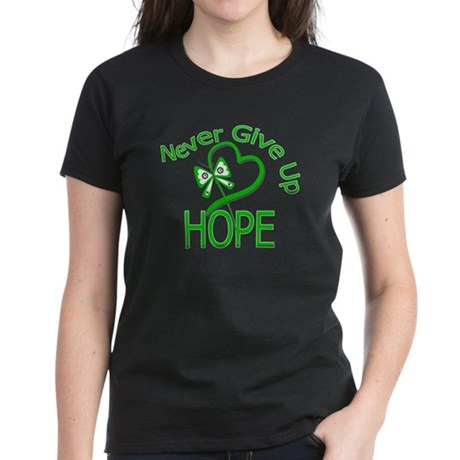 TBI Never Give Up Hope Women's Dark T-Shirt