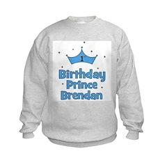 BRENDAN - 1st Birthday Prince Kids Sweatshirt
