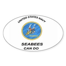 Oval Sticker Seabees CanDo