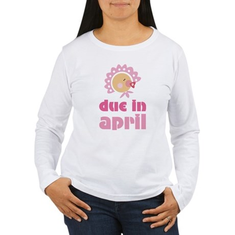 April Baby in Bonnet Due Date Women's Long Sleeve
