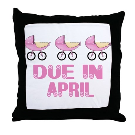 Baby Buggy April Due date Throw Pillow