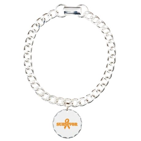 Orange Ribbon Survivor Charm Bracelet, One Charm