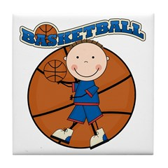 Brunette Boy Basketball Tile Coaster