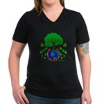Earth Day Everyday Women's V-Neck Dark T-Shirt
