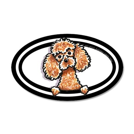 Apricot Poodle Head n Paws 22x14 Oval Wall Peel