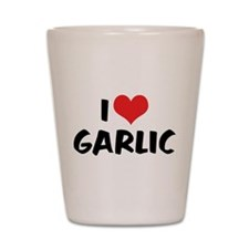 I Love Garlic Shot Glass