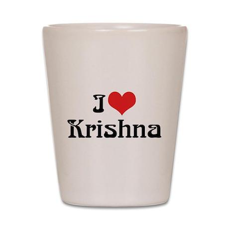 I Love Krishna Shot Glass