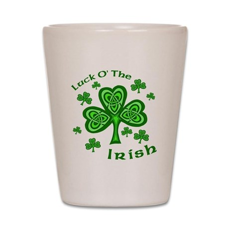 Irish Luck Shamrocks Shot Glass