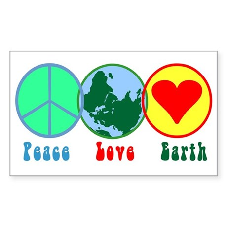 Peace Love Earth Rectangle Sticker