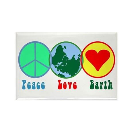 Peace Love Earth Rectangle Magnet