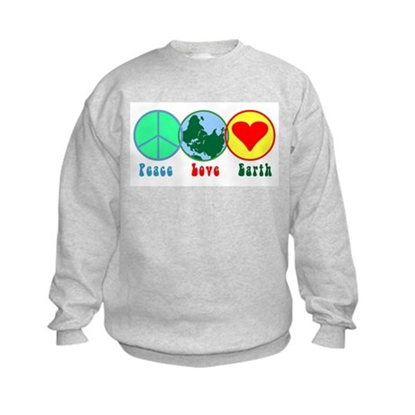 Peace Love Earth Kids Sweatshirt