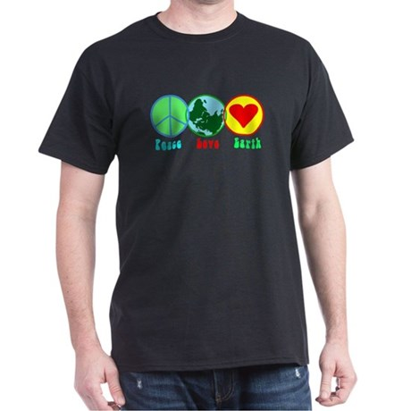 Peace Love Earth Black T-Shirt