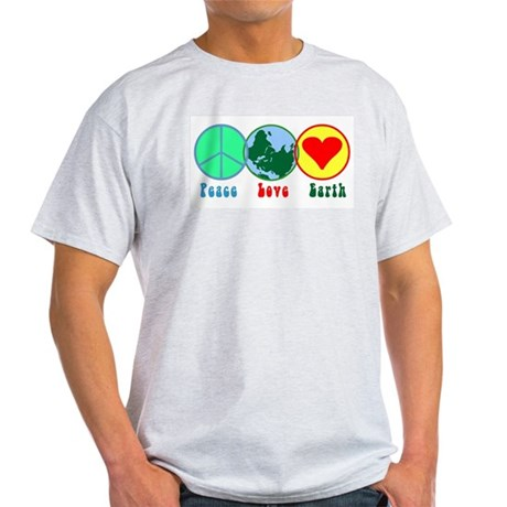 Peace Love Earth Ash Grey T-Shirt