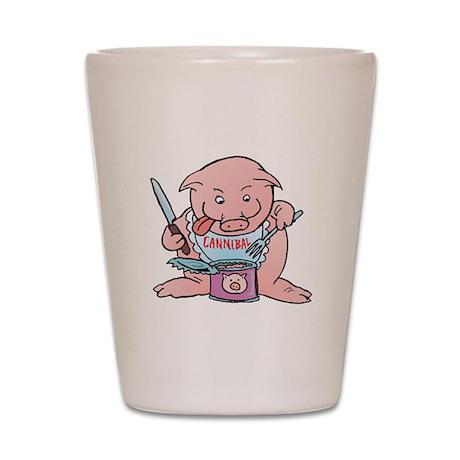 Funny Canibal Pig Eating Cann Shot Glass
