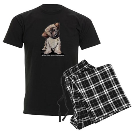 Curious Wheaten Puppy Men's Dark Pajamas